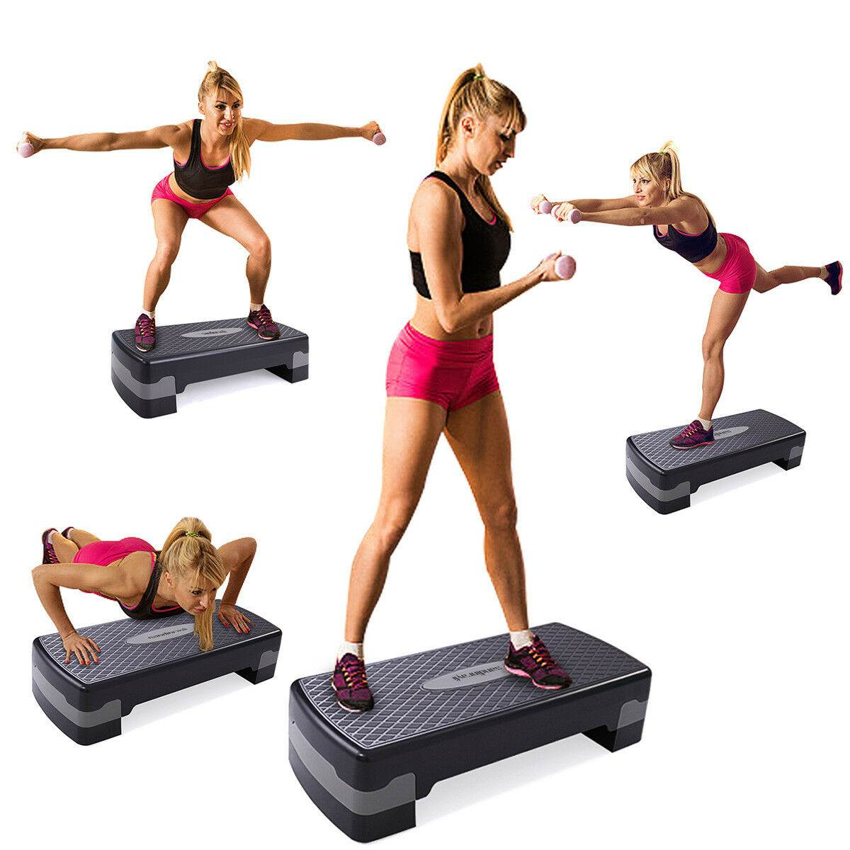 "26"" Aerobic Exercise Stepper Platform with Riser"