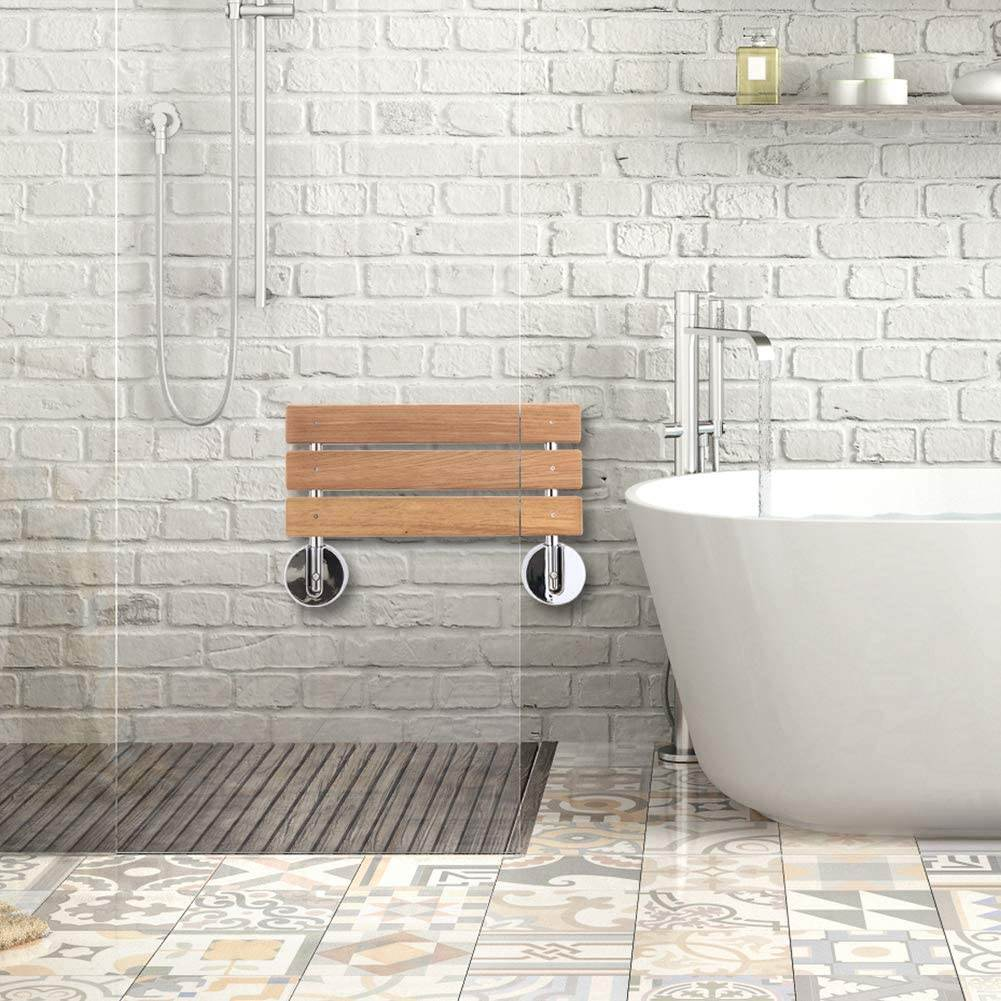 Teak fold down shower seat neat and compact in any bathroom, spa or gym.