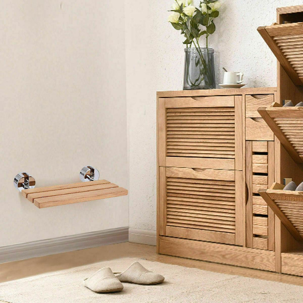 Folding teak shower bench – works in the gym, workout or bathroom