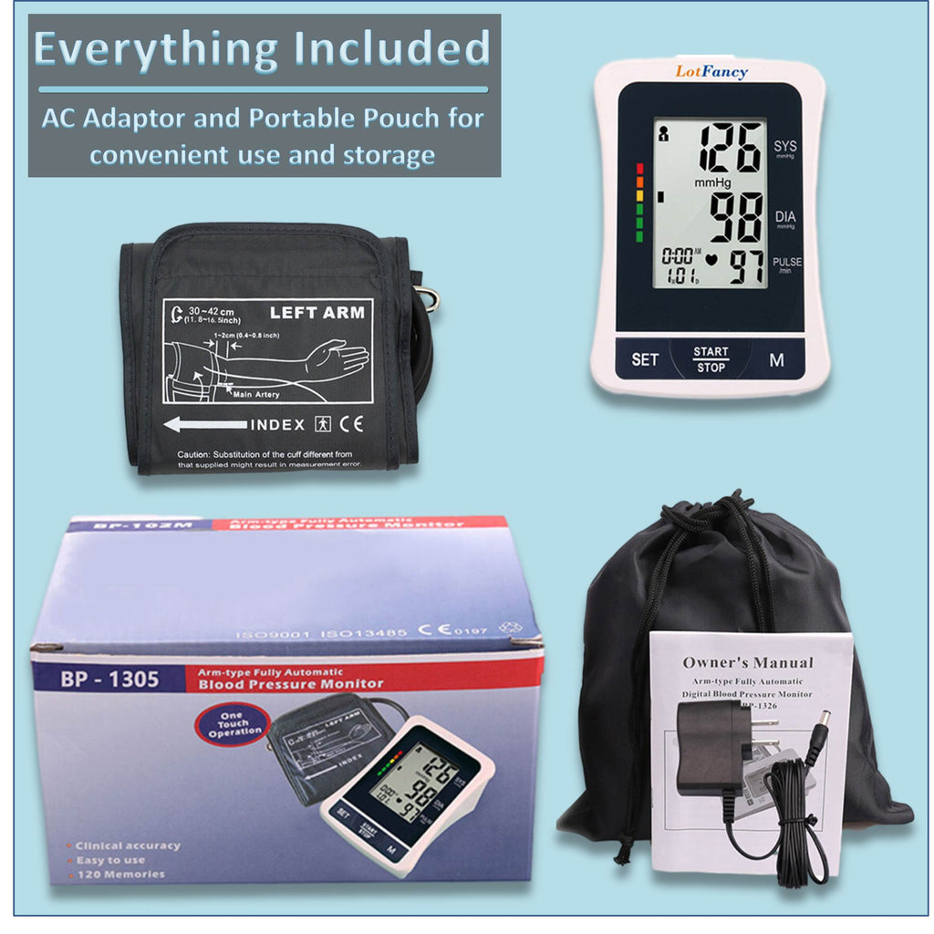 This blood pressure device comes standard with an AC adaptor, travelling pouch and instruction book together with the digital blood pressure meter and automatic inflating cuff – life becomes so much easier!