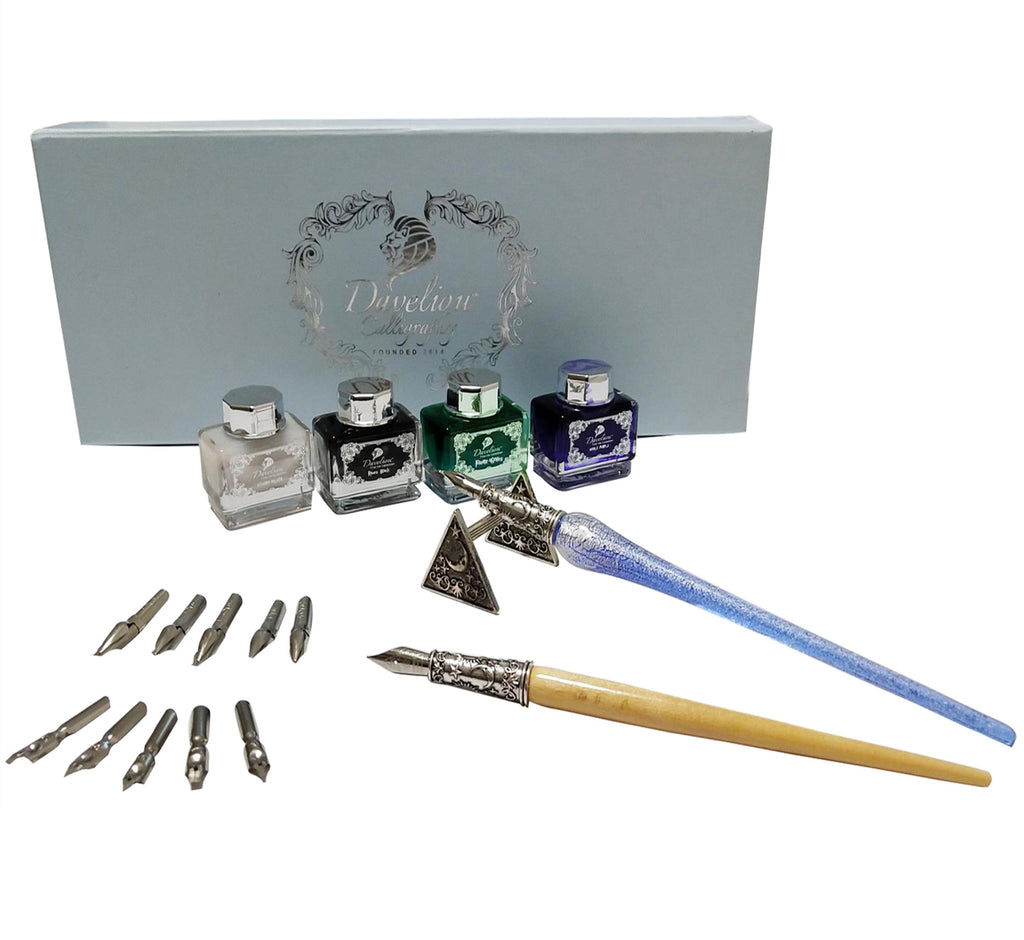 Blue calligraphy pen set with glass dip pen, wooden dip pen, 4 colored inks & 12 nibs the best calligraphy set for beginners