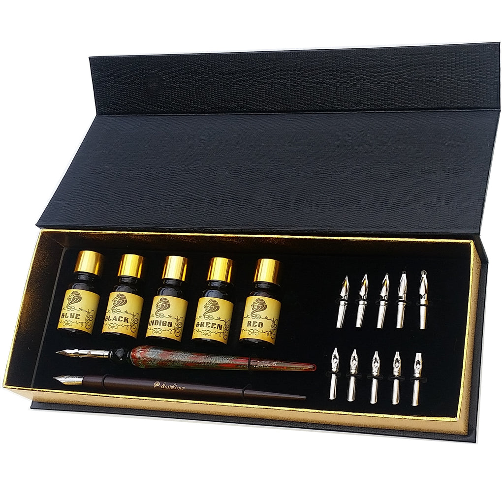 Stylish glass dip pen set with calligraphy ink set
