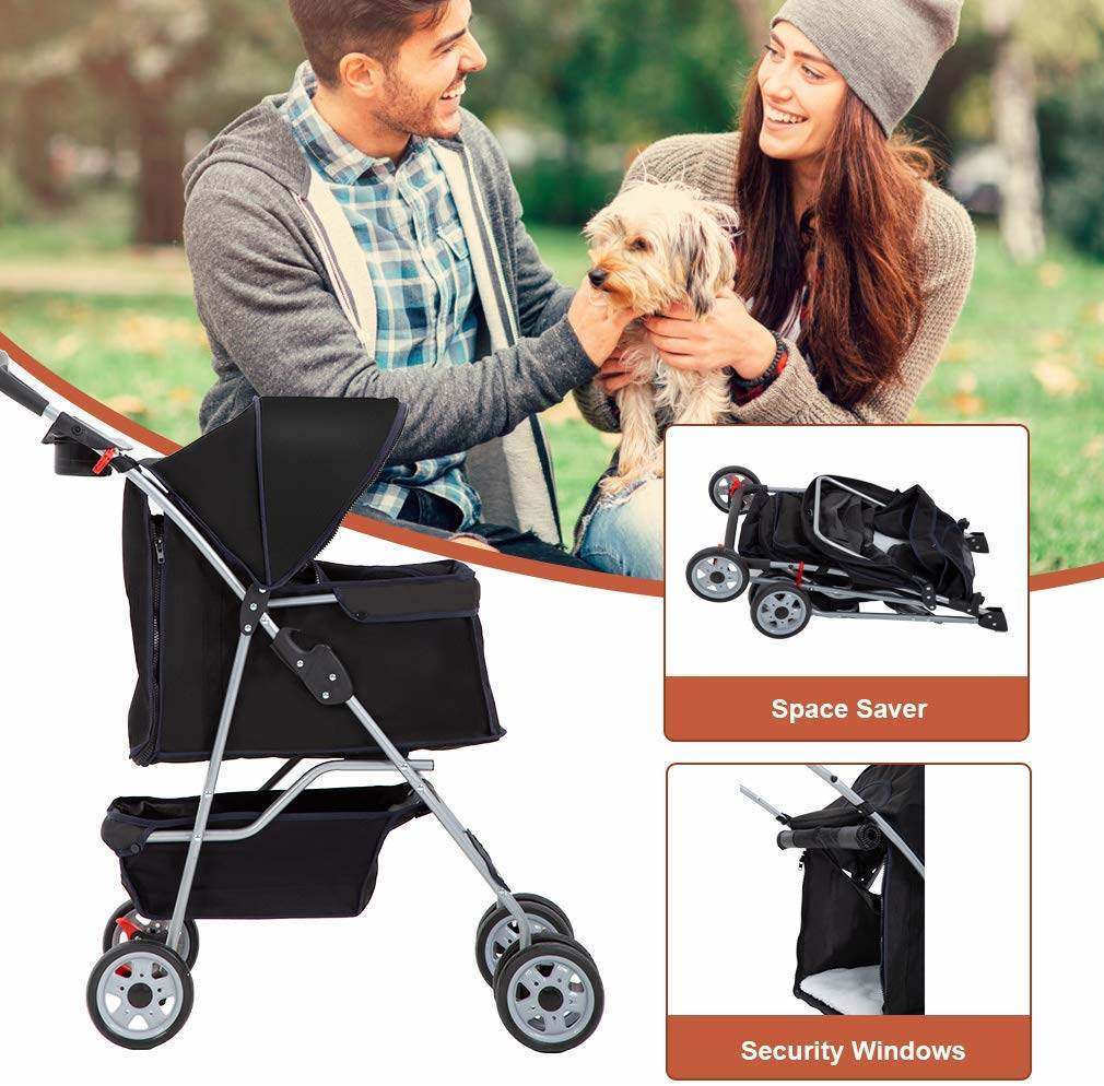 Easy one hand fold mechanism means your pet is easily transferred between car and stroller