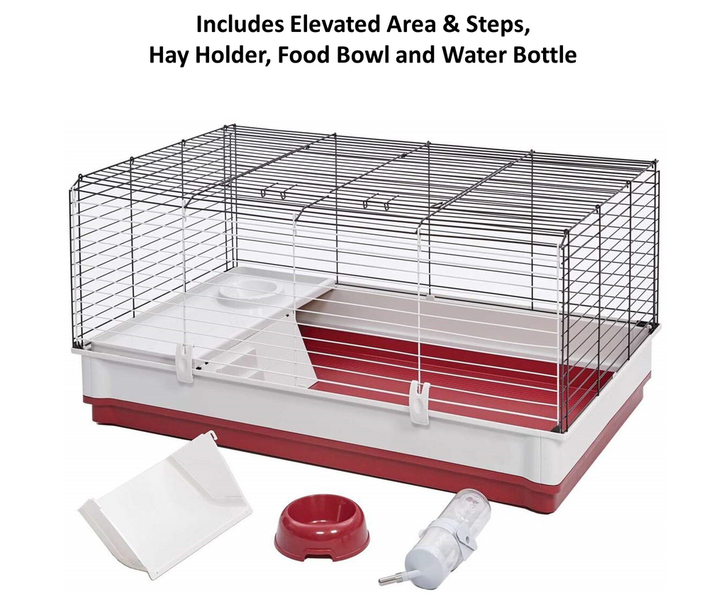 Indoor rabbit cage or home, with elevated feeding area ensures your bunny has all the creature comforts