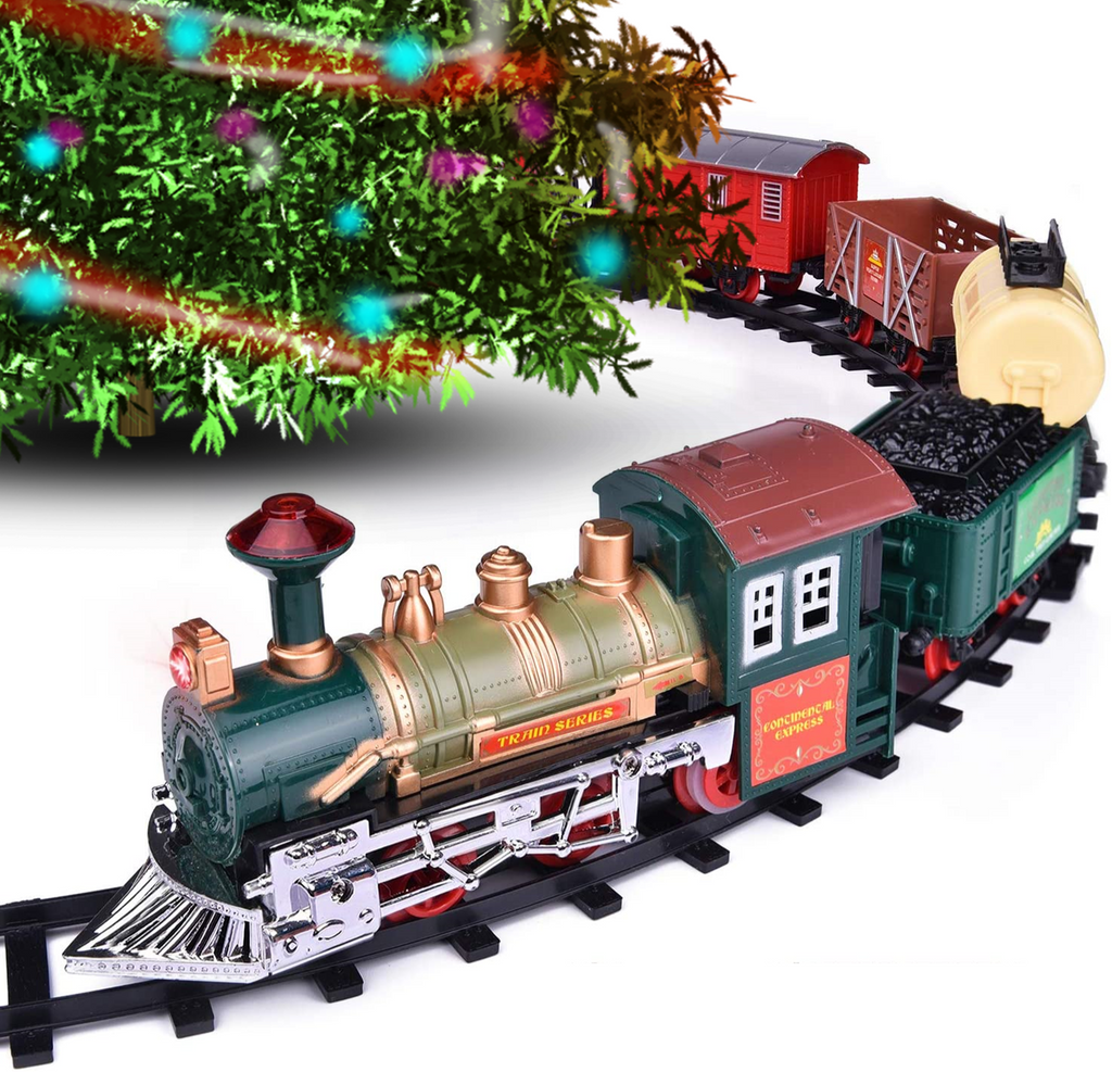 This christmas train decoration runs around your tree as the tree train delivering goods to all and making your Christmas merry and bright