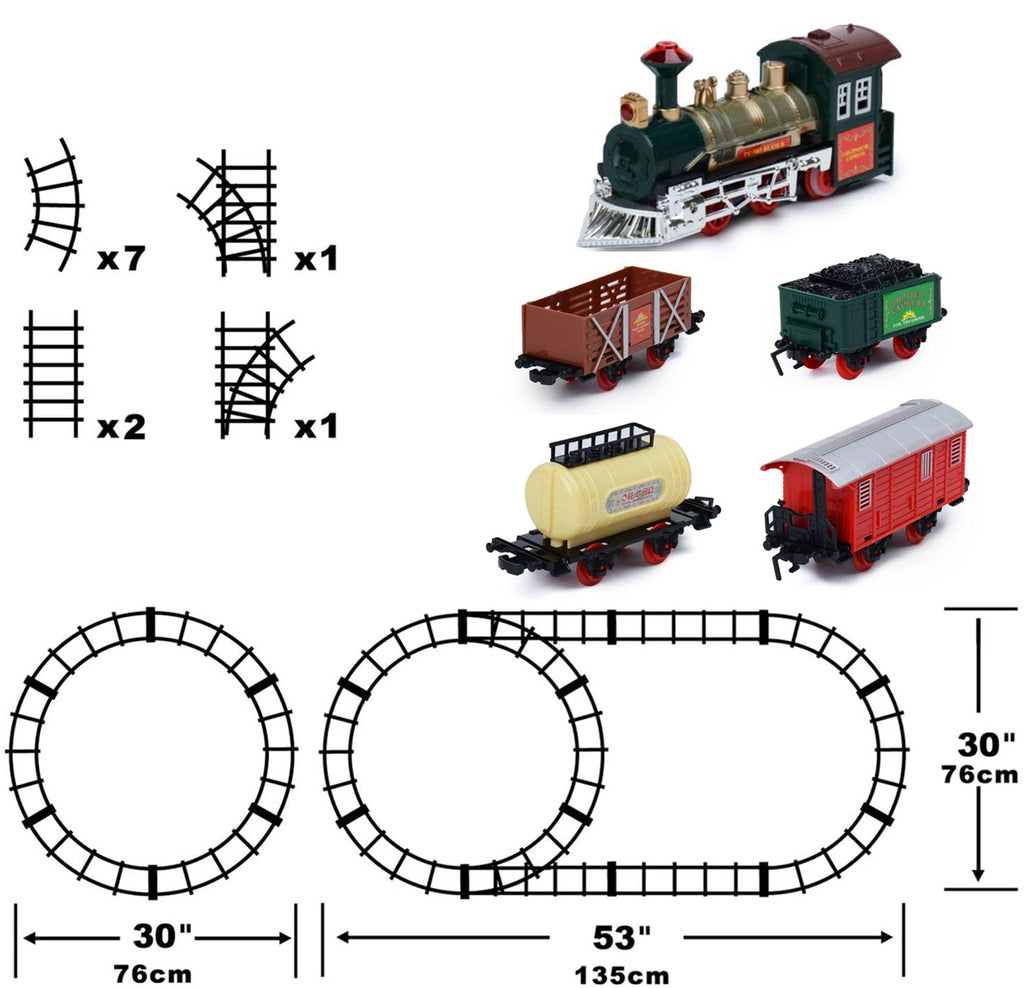 Our 16 piece Christmas train set gives you variety – set it up with a round or oval track set and have the best fun ever as the tree train chugs it's way around your tree