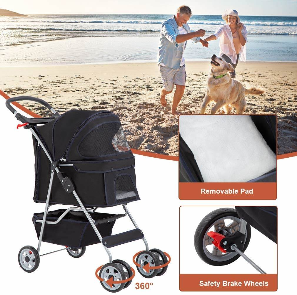 Rear wheel brakes ensure your pet is kept totally safe in our cheap pet stroller