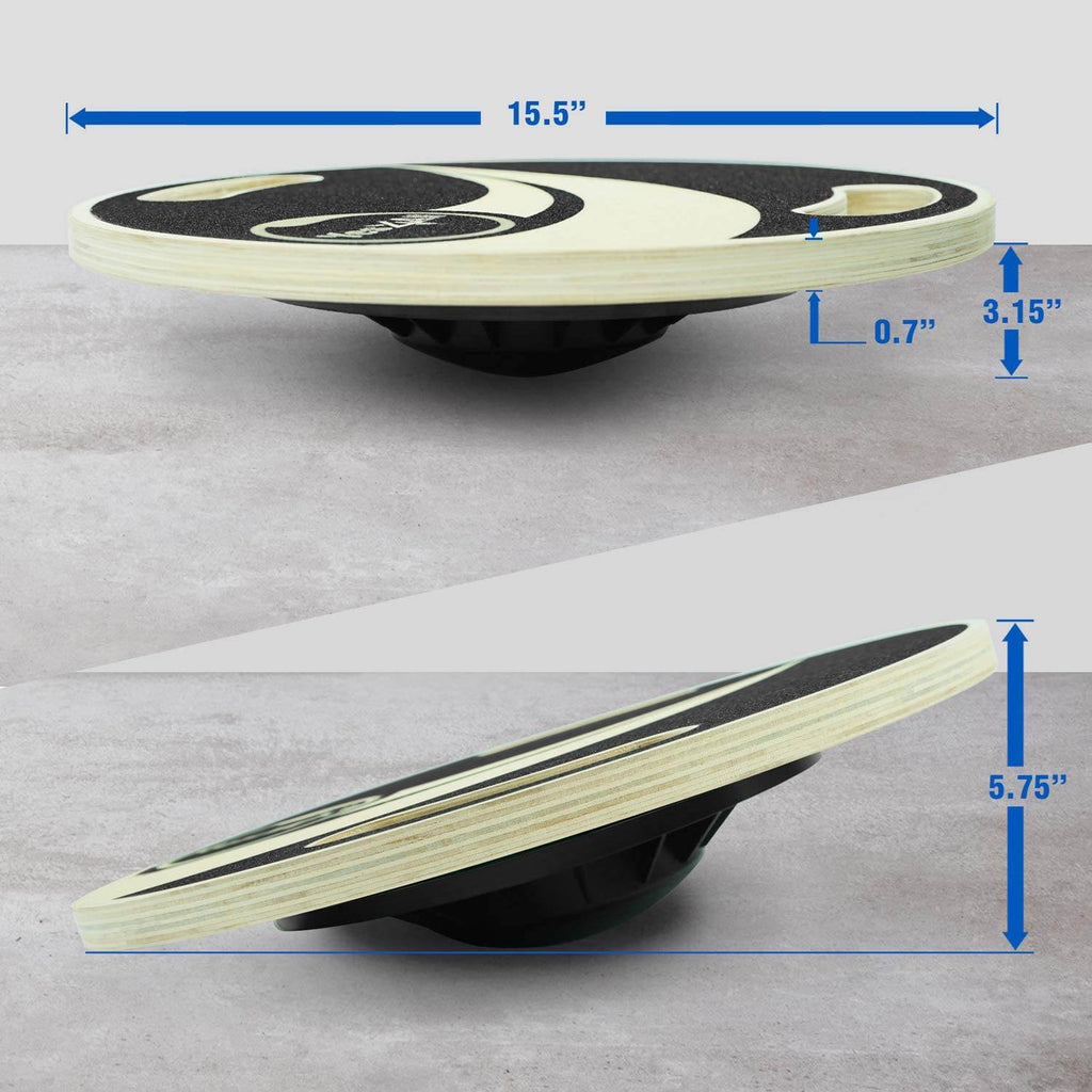 Balance board trainer uses balance exercises with the board tilting upto 15 degrees to help your stability