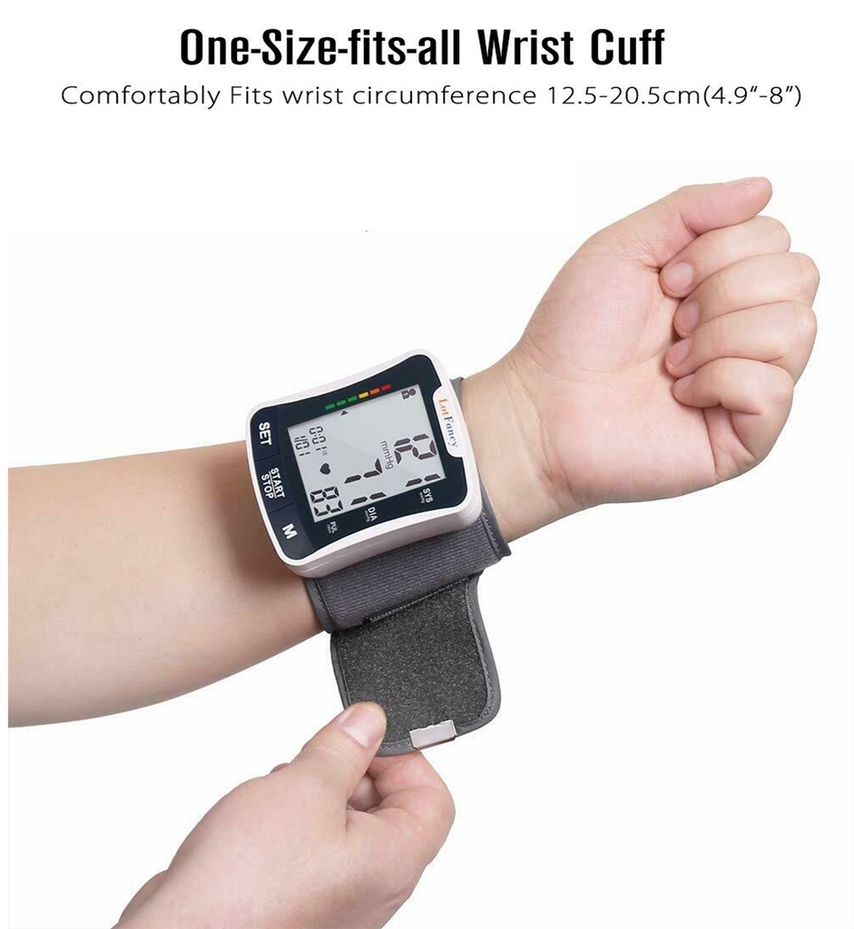 automatic blood pressure monitor is designed to fit any wrists between 5 and 8 inches in circumference. The flexible cuff means you can put it on your wrist and do your bp measurements at home