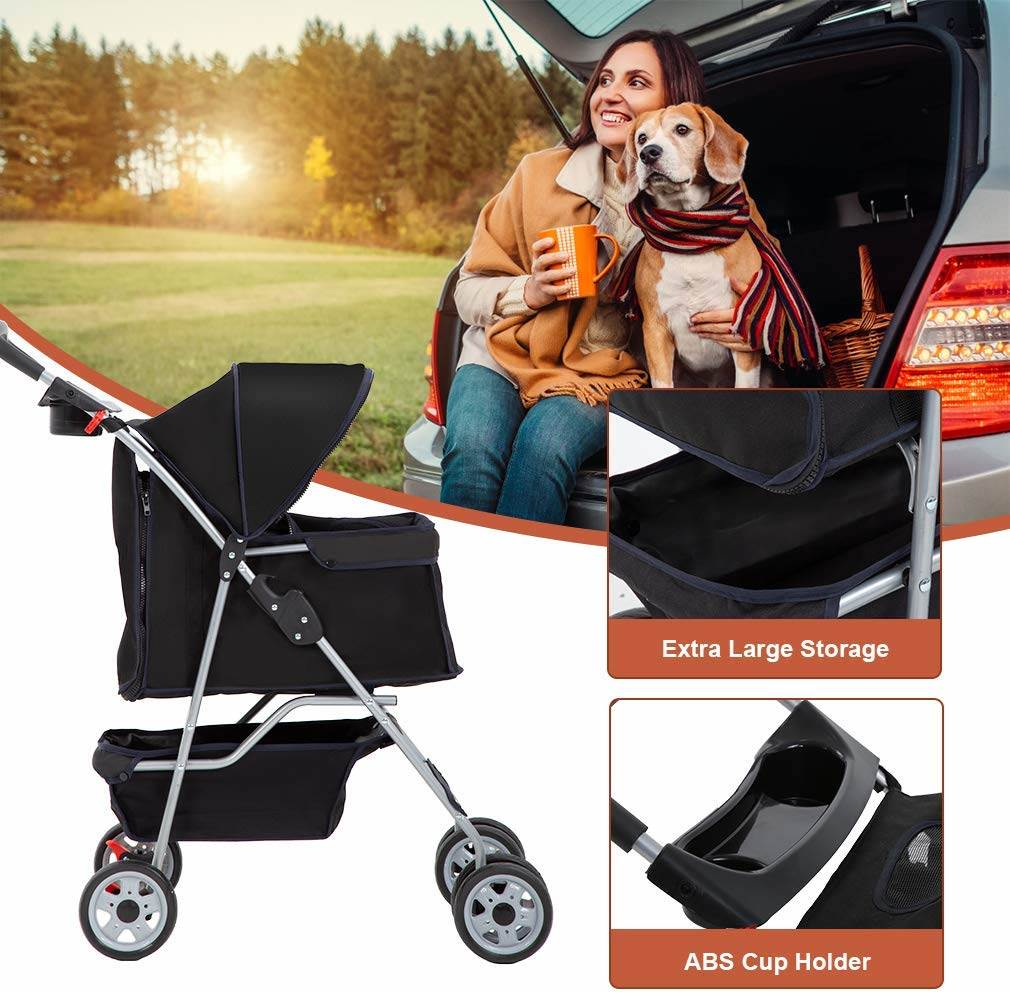 Extra storage under the dog stroller makes this the best pet stroller