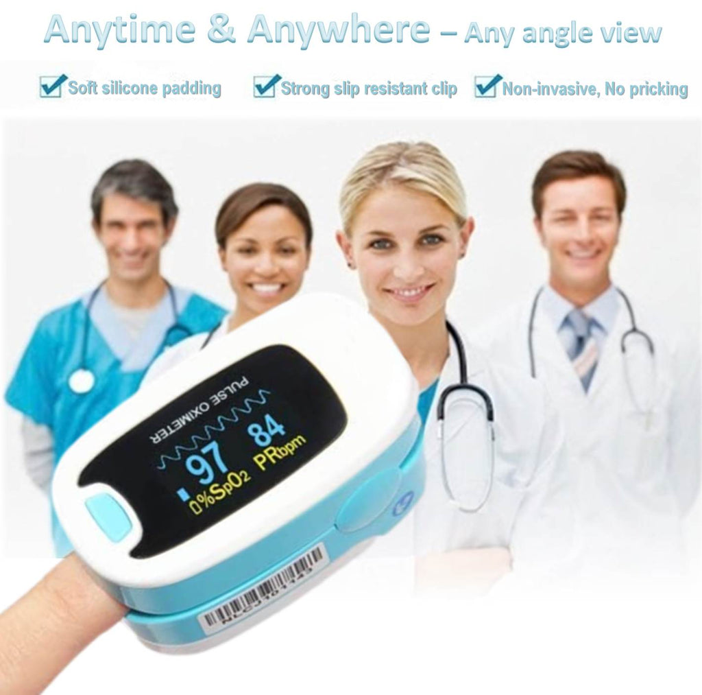 Our blood oxygen monitor can be used anytime and anywhere.  It has a soft silicone interior to stop your finger hurting while it measures your normal spo2.  Quick, simple and easy to understand the readings – what more do you need to monitor your oxygen levels and pulse rate.