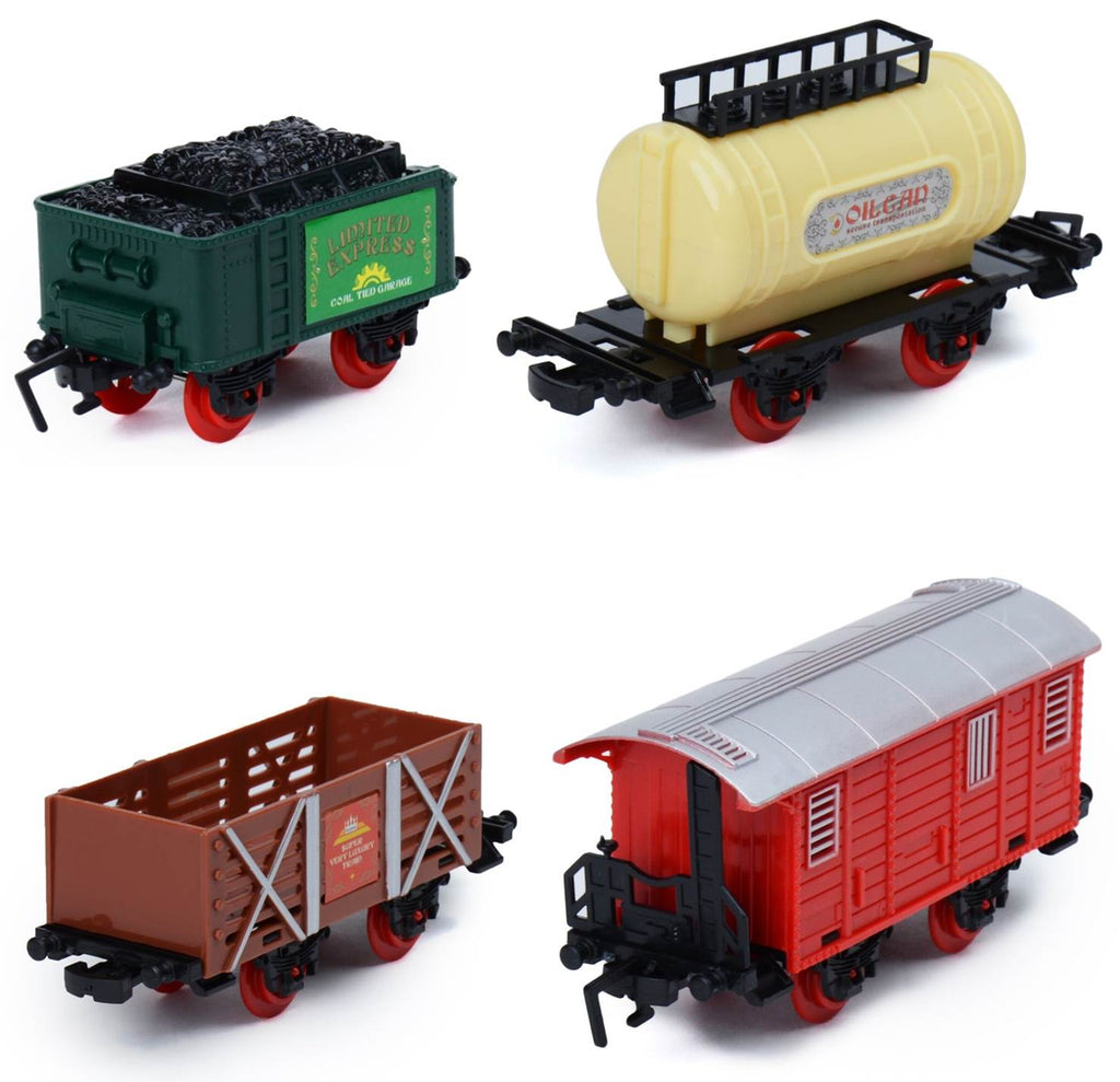 Our tree train set has 4 different carts (a coal cart, an oil tanker, a goods wagon and a guard wagon) as well as the express train engine, making it the perfect train to go around christmas tree. Customise it to any layout and have a different setting every day giving the family hours of festive fun.