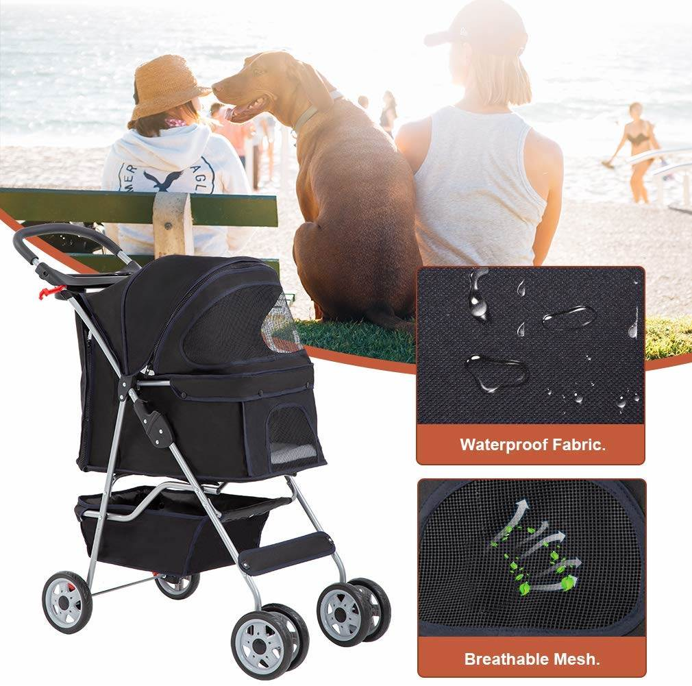 Our pet stroller is waterproof and has breathable mesh so your dog or cat won't get too hot
