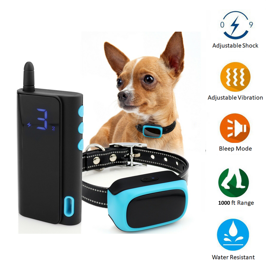 Best small dog training collars with three modes - beep, vibrate and shock with a range of up to 1000 feet.  Have the best behaved toy dog on the block!