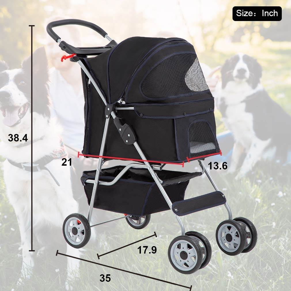 4 Wheels Pet Stroller For Cats And Dogs  Weighing Up To 25 lbs - Black, Red and Purple
