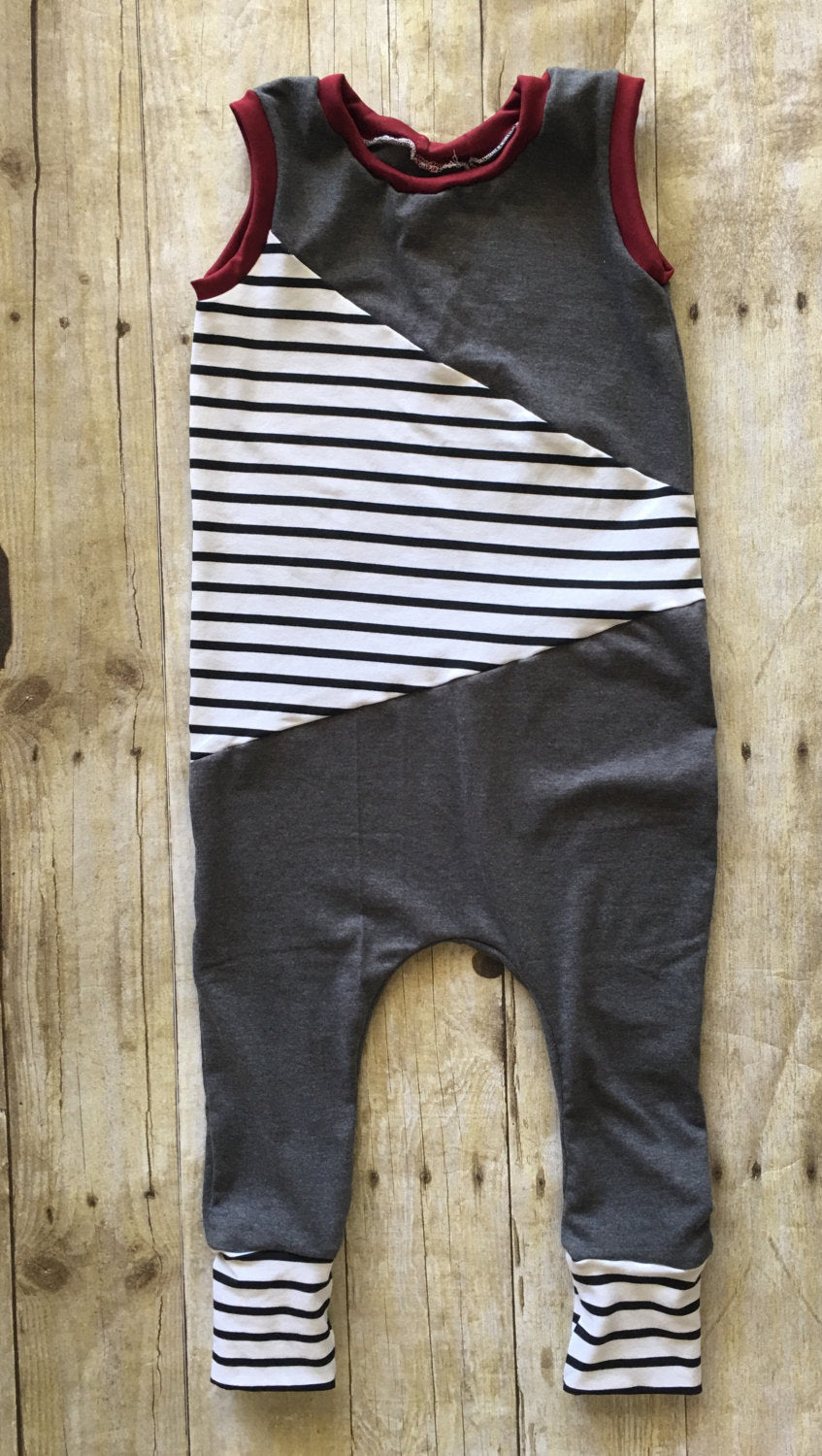 Grey romper ,grey harem romper,black and white strip harem romper,kids harem romper