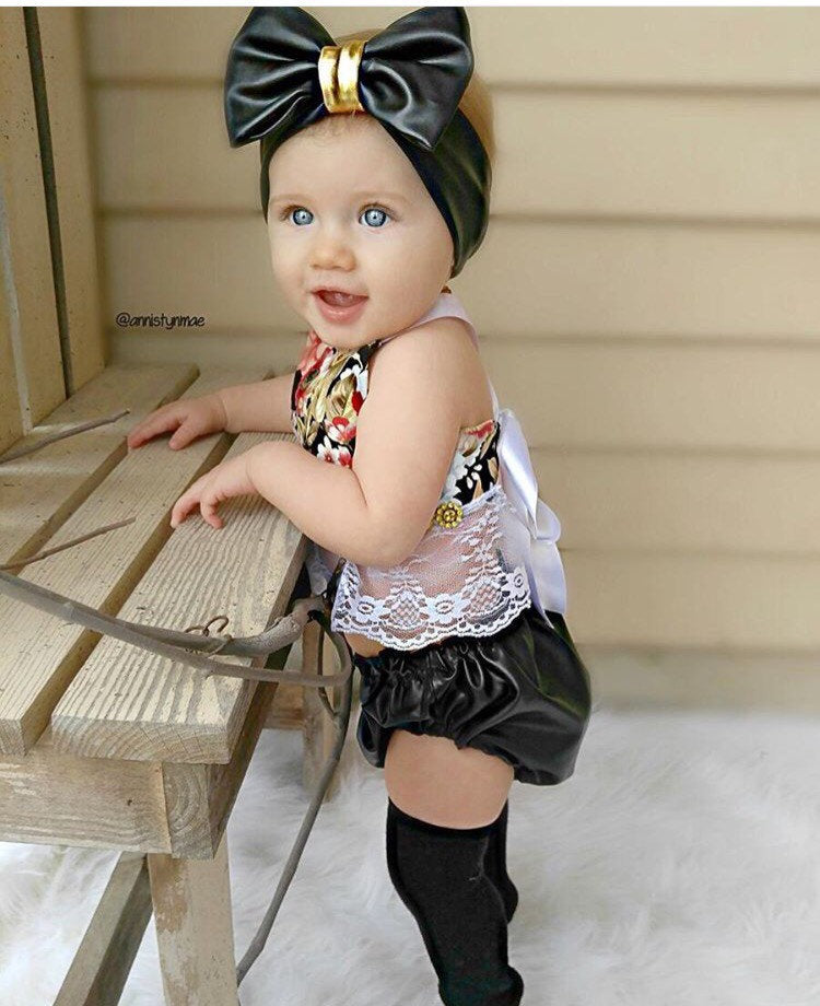 Faux leather diaper cover & matching Headband