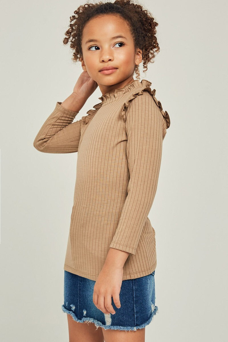 Ribbed Rufle mock neck top