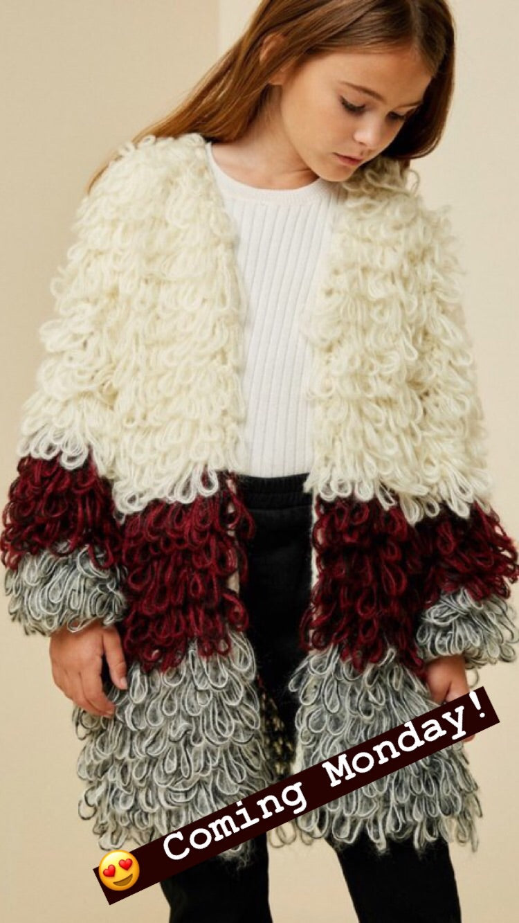 shaggy sweater knit coat