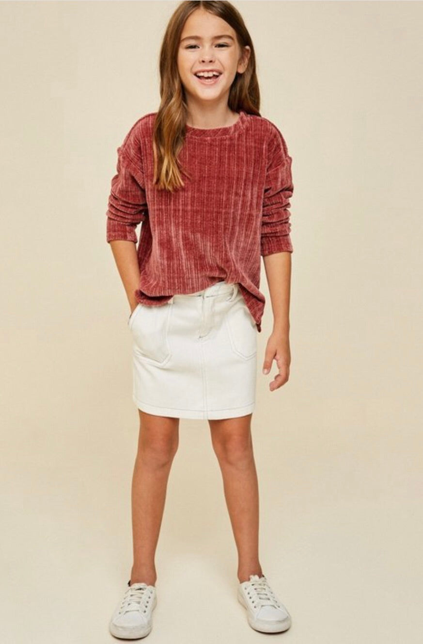 Corduroy knit sweater top