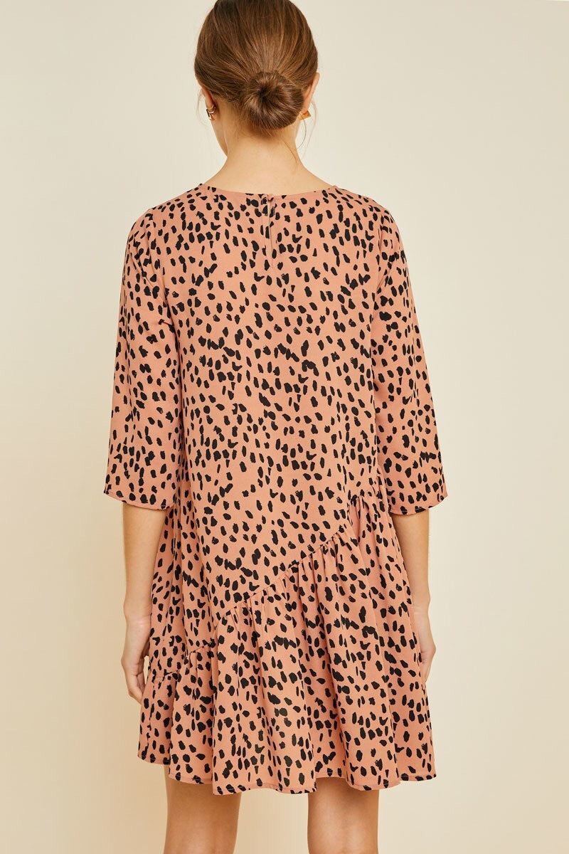 Women asymetrical dotted swing dress