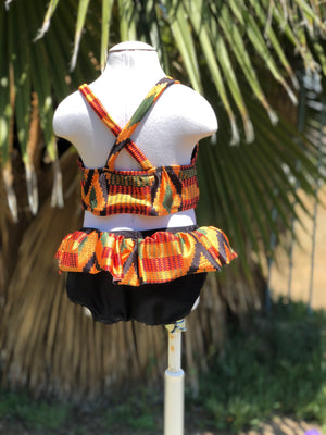 African print two piece girls bathing suit