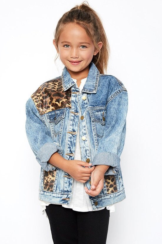 Girls oversized leopard denim jacket