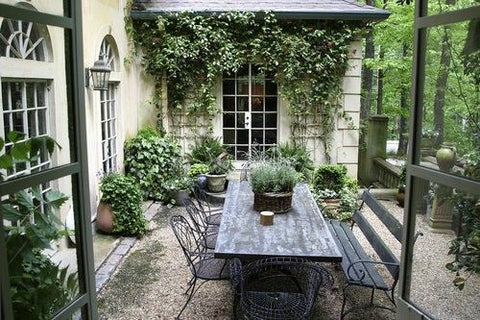 Dining Al Fresco outdoor courtyard dining table Elizabeth Andersen