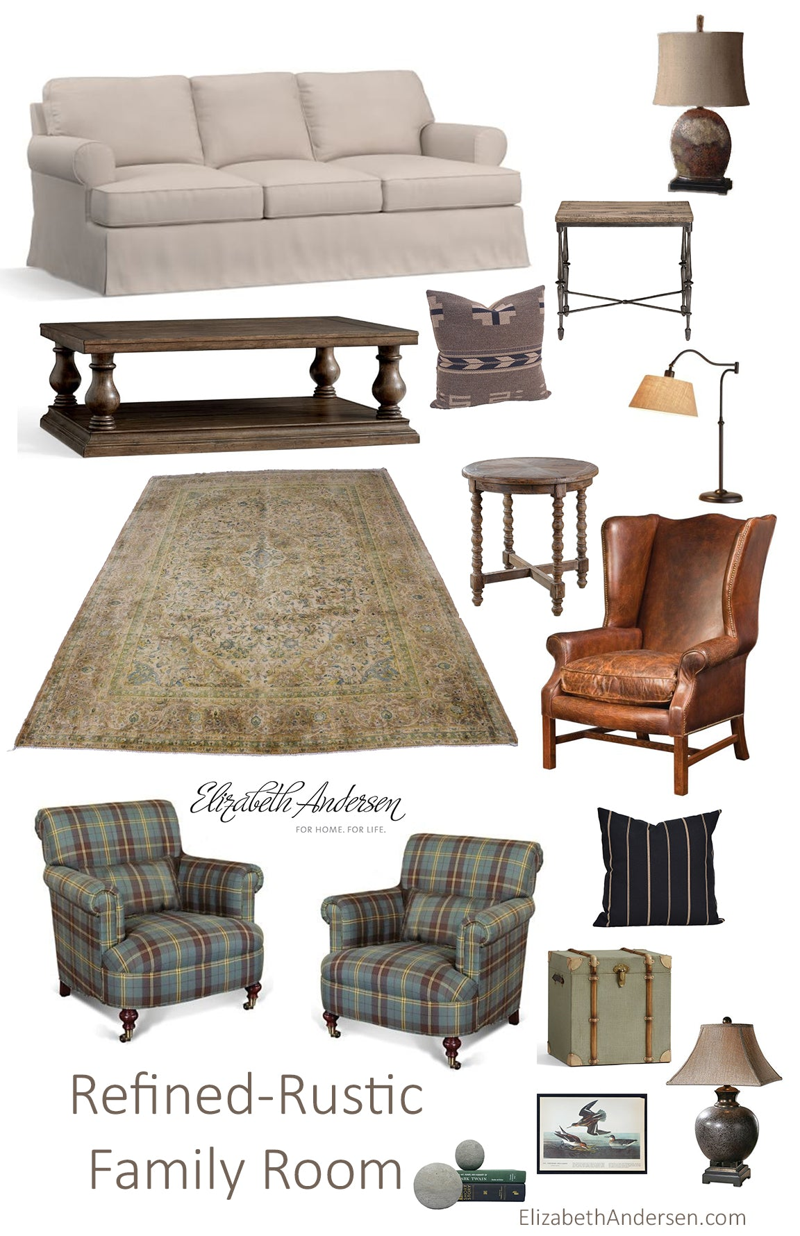 refined rustic living room montage from elizabethandersen.com