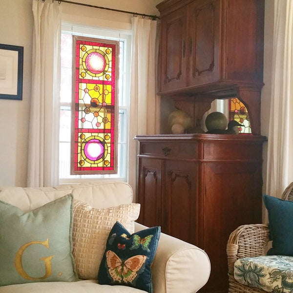 Custom Pillows And Curtains By Elizabeth Andersen Antique Bar Antique Stained Glass