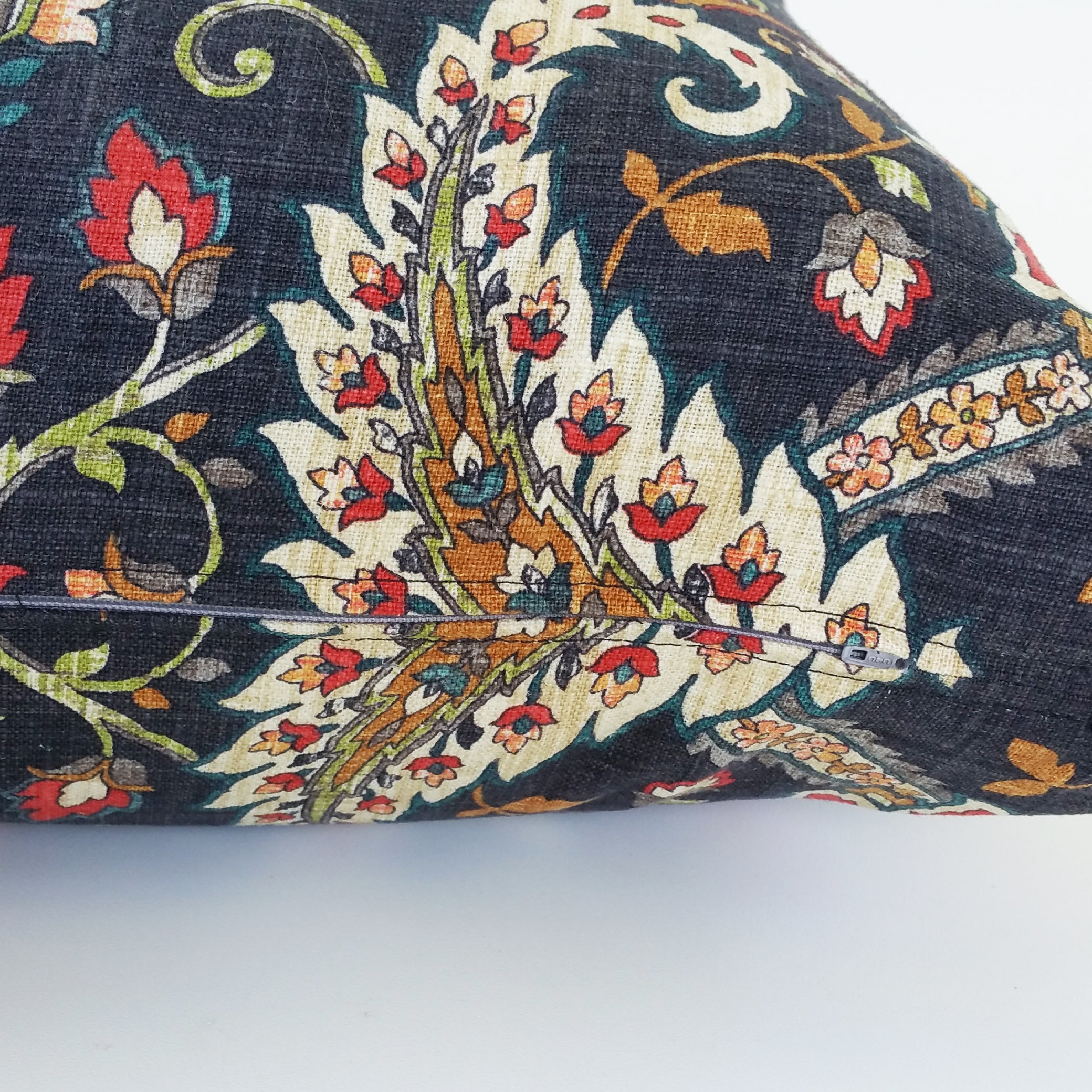 Black & Jewel Tone Floral Linen Pillow Cover Swavelle | Mill Creek Fidelio Cliffside Fabric- Limited Edition
