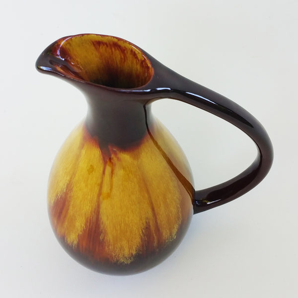 Vintage Brown & Gold Ceramic Pitcher