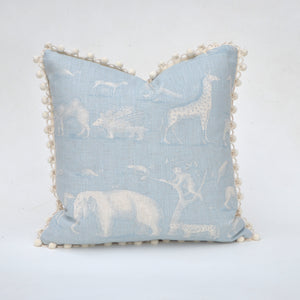 Elizabeth Andersen's Animal Kingdom Pillow Covers are individually custom sewn from Andrew Martin's whimsically designed fabric for Kravet Couture. Martin's design features animals from elephants to monkeys, camels to porcupines, all created in a fanciful vintage style. We have added a fun, looped pom-pom trim for the perfect finish. Custom sizing, quantity and yardage inquiries welcome.
