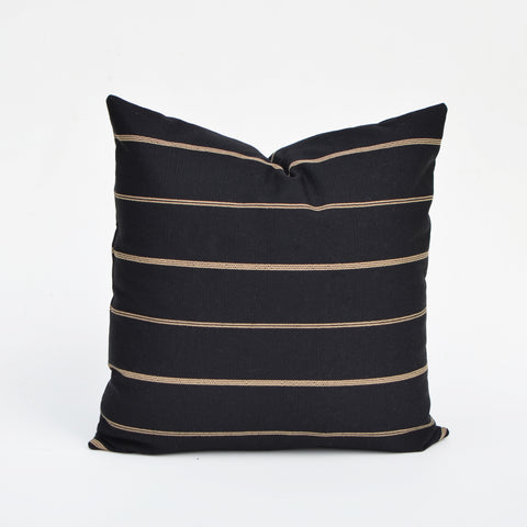 Linen Pillow Cover In Black & Natural Stripe