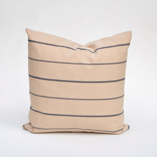 Linen Pillow Cover In  Natural With Navy Blue Stripe