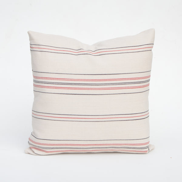 Linen Pillow Cover In Ivory With Red & Blue Stripe