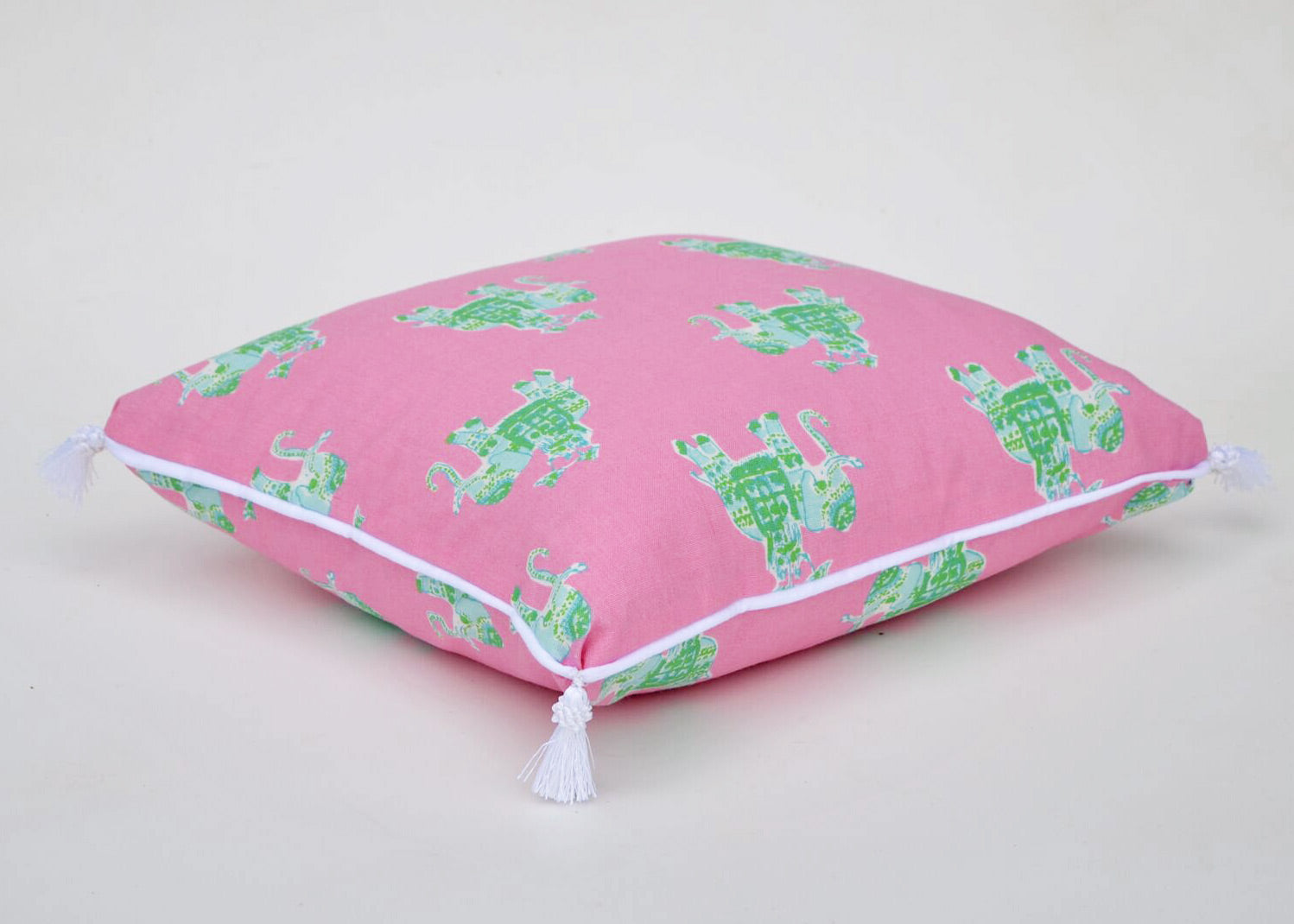 Lilly Pulitzer Bazaar Tiki Pink Elephant Pillow Cover