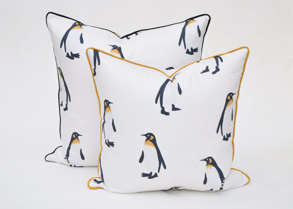 Tux Penguin Snow White Pillow Cover - Textile Design By Andrew Martin