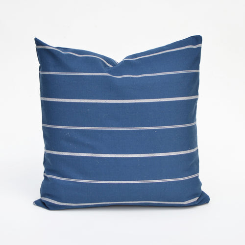 Linen Pillow Cover In Yale Blue and White Stripe