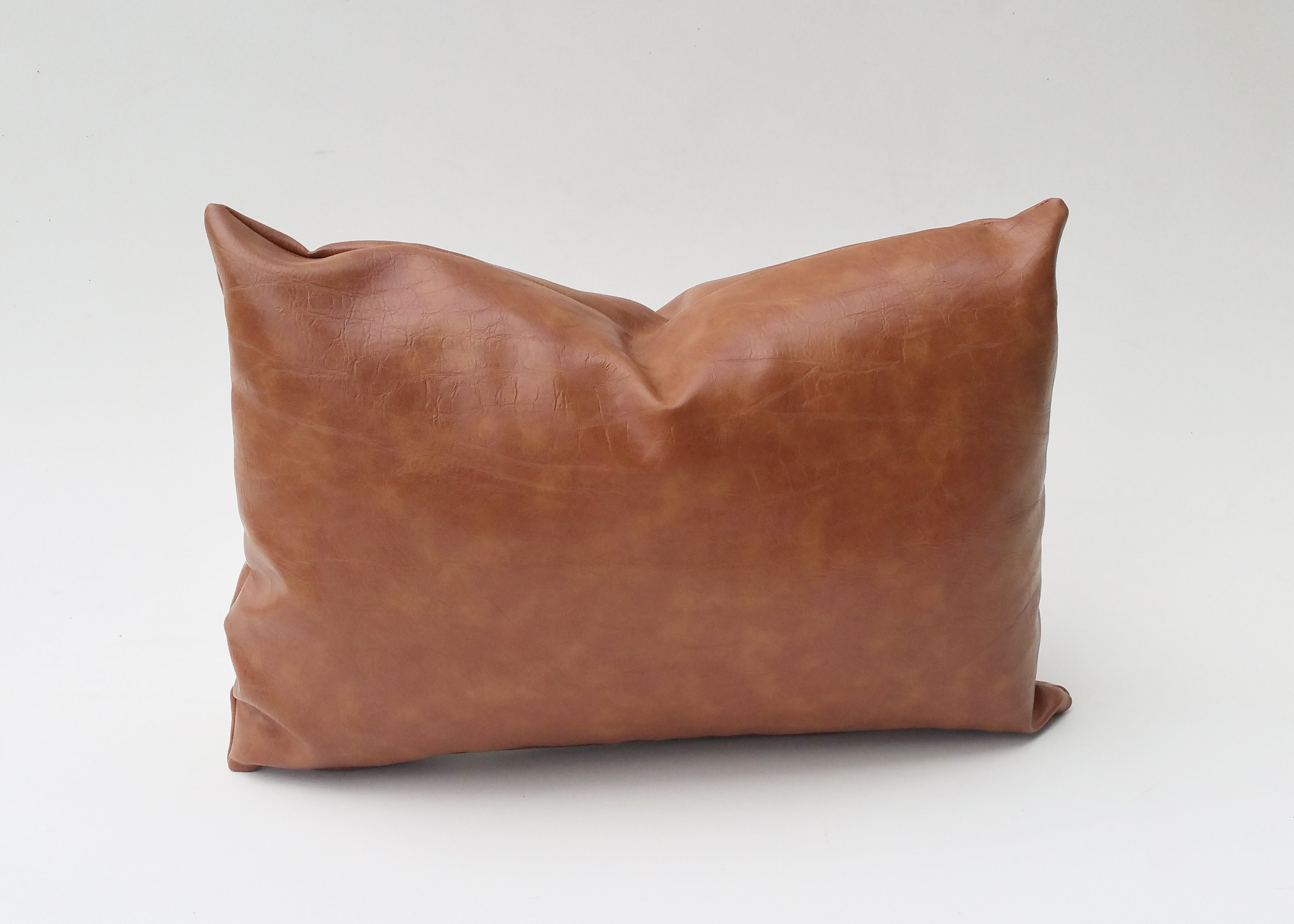 Caramel Brown Faux Leather Pillow Cover