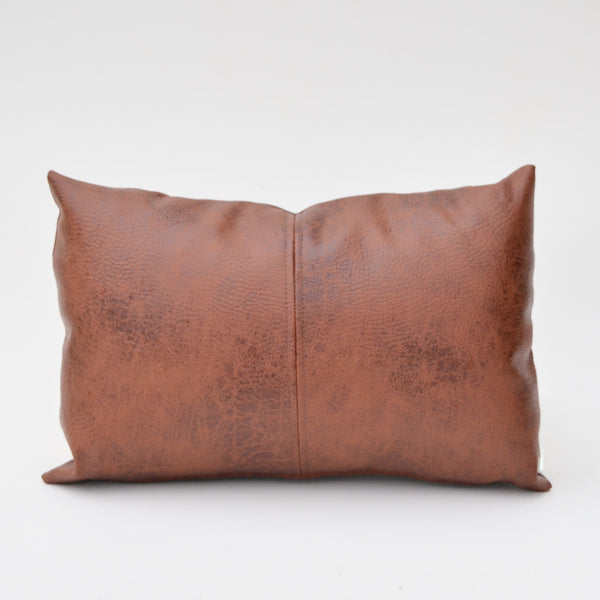 Rustic Pecan Brown Paneled Faux Leather Pillow Cover