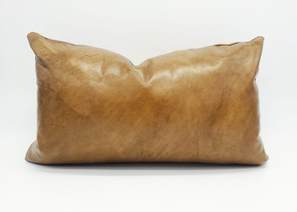 Genuine Leather Pillow Cover, Tan Cowhide Leather, Limited Edition