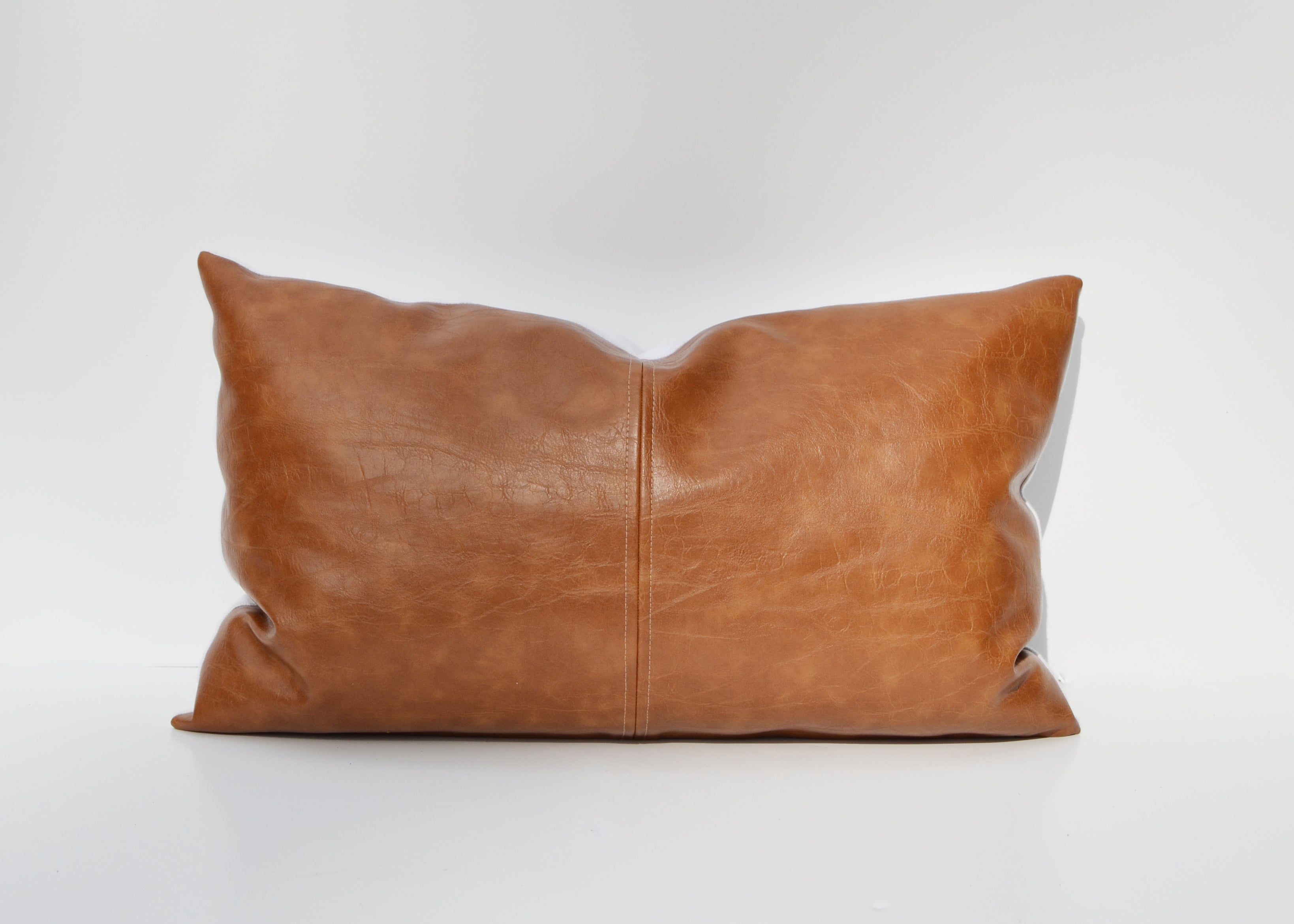 Caramel Brown Paneled Faux Leather Pillow Cover