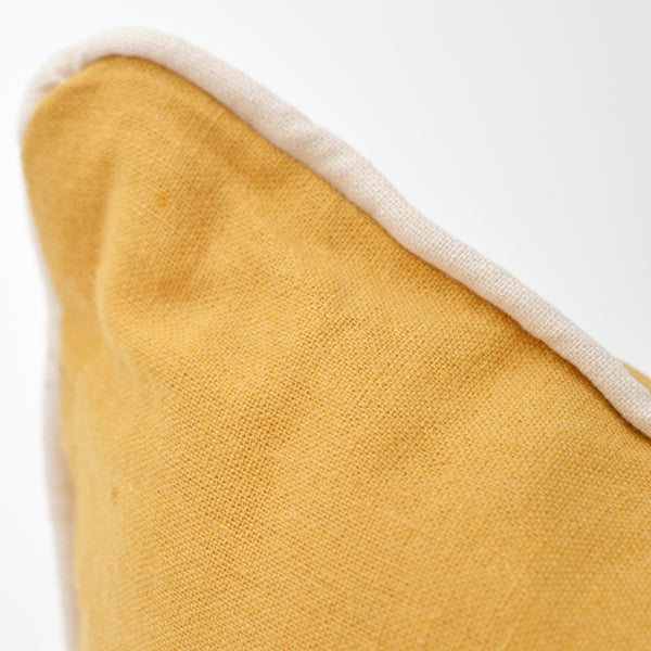 Solid Mustard Yellow Linen Pillow Cover With Off-White Piping