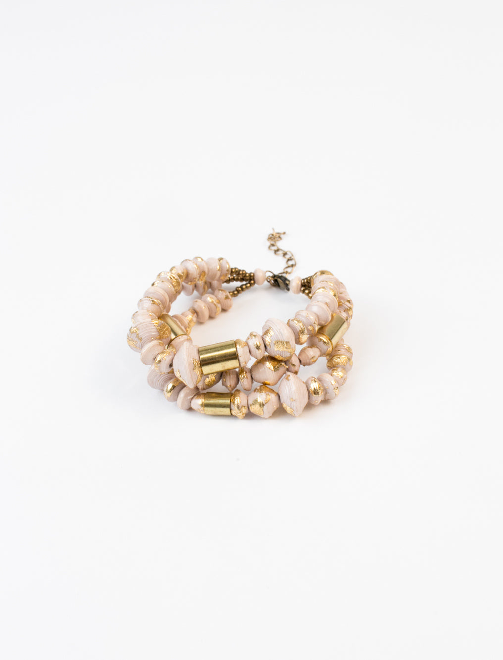 Marble Strand Bracelet in Cream and Gold