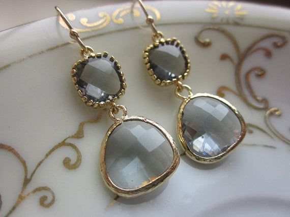 Charcoal Gray Earrings Gold Plated