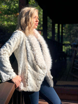 Lynx Shag Faux Fur Jacket in Ivory