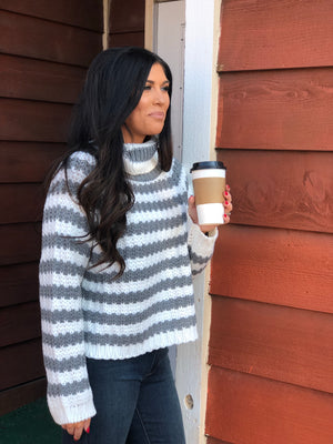Chunky Gray and White Striped Turtleneck