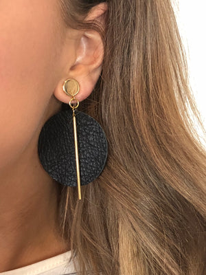 Leather Circle Earrings with Brass Post
