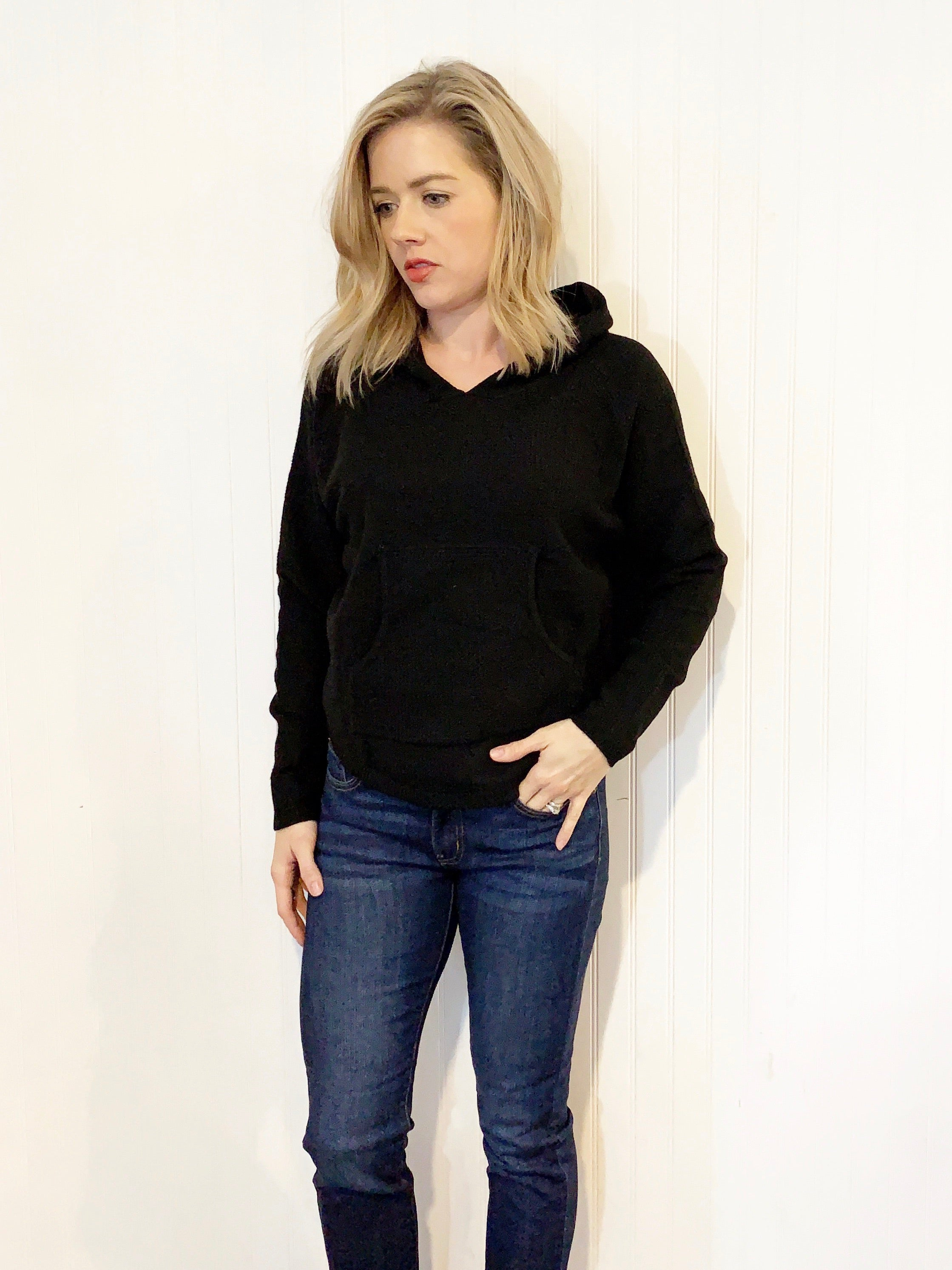 Cozy Waffle Hooded Sweater in Black- S & M
